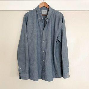 Mens CARHARTT WIP Work in Progress XXL Knit Chambray Oxford L/s Shirt